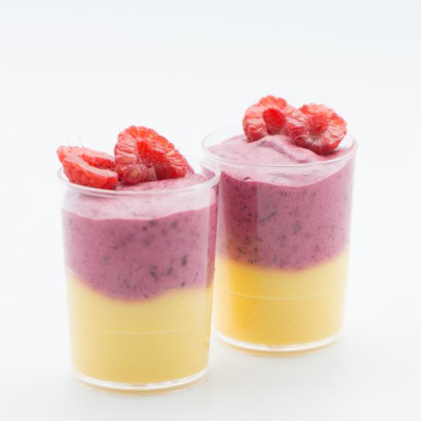 Mousse de mango-fructul pasiunii și zmeură
